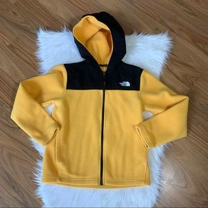 The North Face yellow fleece jacket, M 10-12